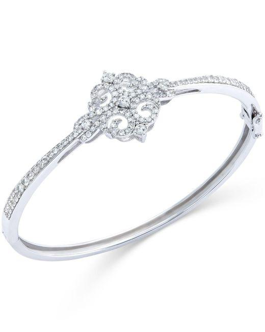 Macy's   Metallic White Sapphire Bangle Bracelet In Sterling Silver (3/4 Ct. T.w.)   Lyst