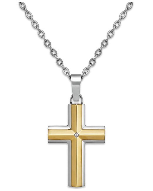 Macy's - Metallic Diamond Accent Cross Pendant Necklace In Stainless Steel And 10k Gold for Men - Lyst