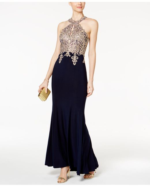 Lyst - Xscape Petite Embroidered Halter Gown in Blue