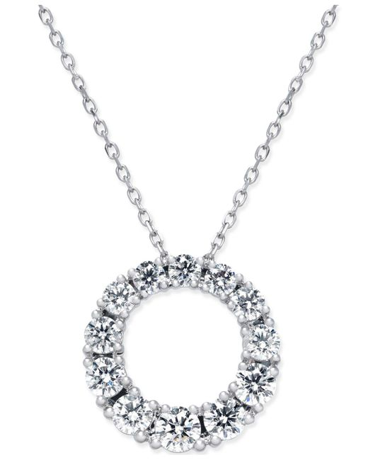 Macy's - Metallic Diamond Circle Pendant Necklace (1 Ct. T.w.) In 14k White Gold - Lyst