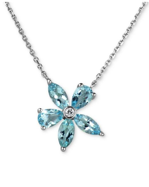 Macy's - Blue Aquamarine (2 Ct. T.w.) & Diamond Accent Flower Pendant Necklace In 14k White Gold - Lyst