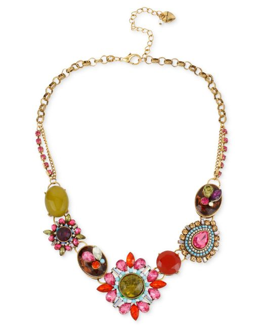 Betsey Johnson - Metallic Gold-tone Multi-color Crystal Pendant Frontal Necklace - Lyst