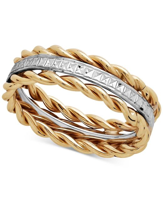 Macy's - Metallic Two-tone Rope Ring In 10k Gold & White Gold - Lyst