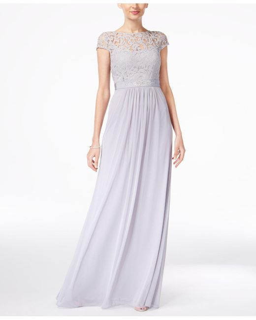 39ae47312ef Lyst - Adrianna Papell Cap-sleeve Lace Gown in Metallic