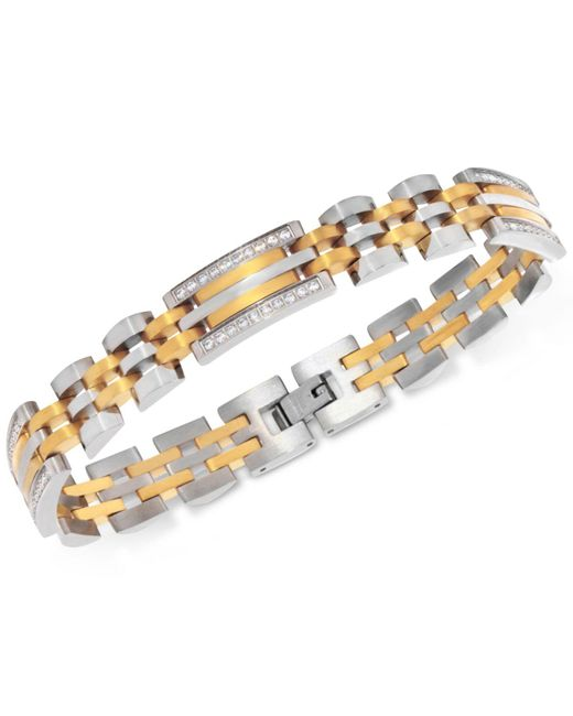 Macy's - Metallic Men's Diamond Two-tone Link Bracelet (1/2 Ct. T.w.) In Stainless Steel And Yellow Ion-plate - Lyst
