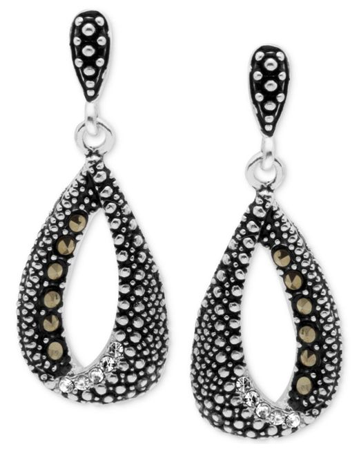Macy's - Metallic Marcasite & Crystal Teardrop Loop Drop Earrings In Fine Silver-plate - Lyst