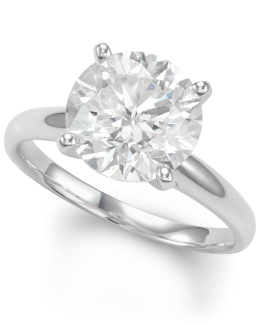 Macy's - Metallic Diamond Solitaire Engagement Ring (4 Ct. T.w.) In 14k White Gold - Lyst