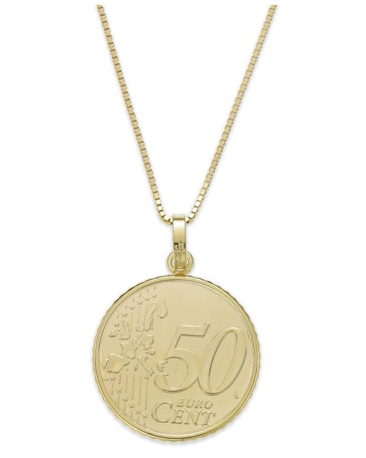 Macy's - Metallic Vermeil Engraved Euro Coin Pendant Necklace - Lyst