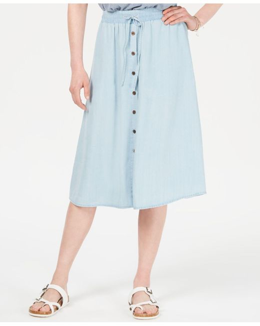 Style & Co. Blue Chambray Button-front Midi Skirt, Created For Macy's