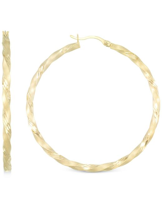 Macy's - Metallic Twisted Satin Finished Round Hoop Earrings In 14k Gold Over Sterling Silver - Lyst