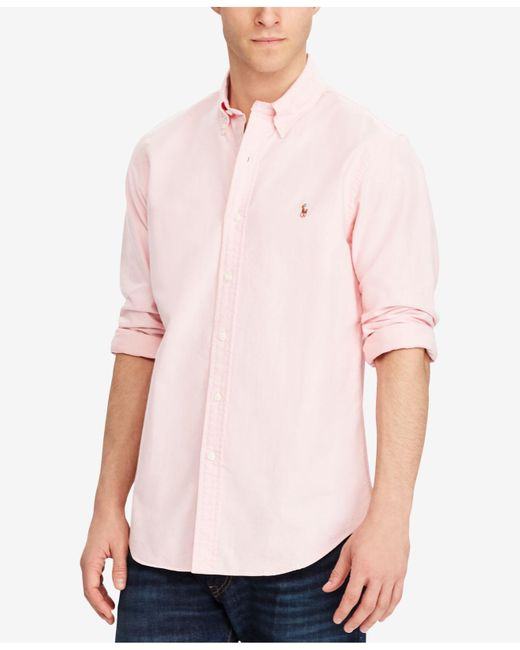 Polo Ralph Lauren - Pink Solid Oxford Shirt for Men - Lyst