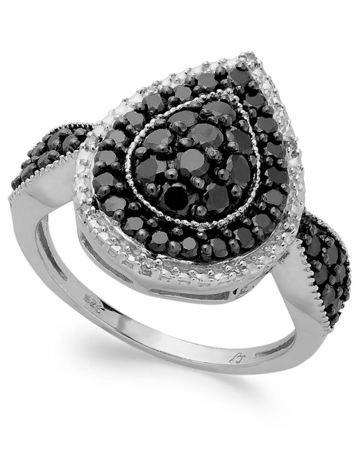 Macy's - Metallic Sterling Silver Black (1 Ct. T.w.) And White Diamond Accent Pear-shaped Ring - Lyst