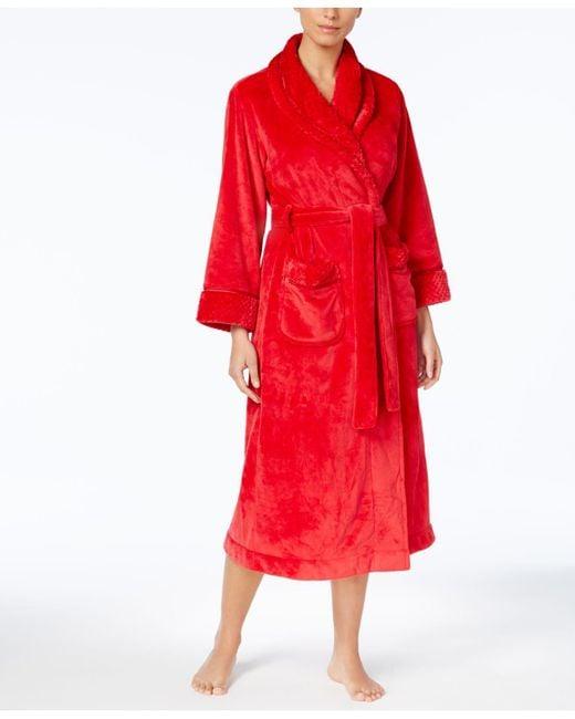 Charter Club - Red Fleece-trim Long Robe - Lyst