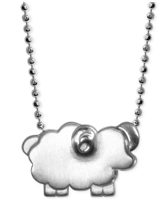 Alex Woo - Metallic Little Sheep Zodiac Pendant Necklace In Sterling Silver - Lyst