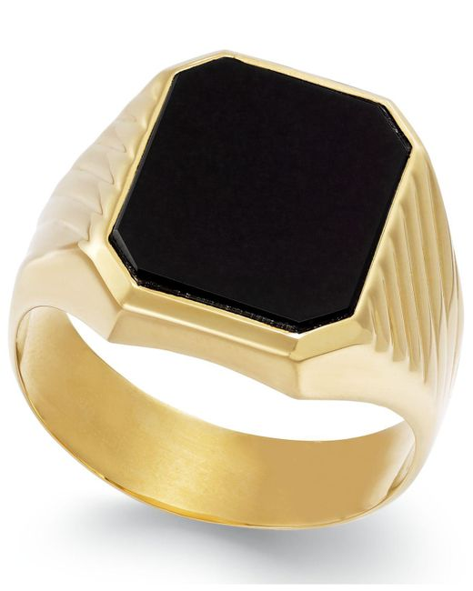Macy's - Metallic Men's Onyx Ring In 14k Gold (3-3/4 Ct. T.w.) for Men - Lyst