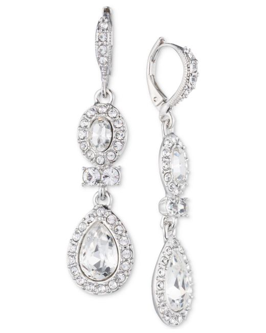 Givenchy - Metallic Faceted Stone And Crystal Double Drop Earrings - Lyst