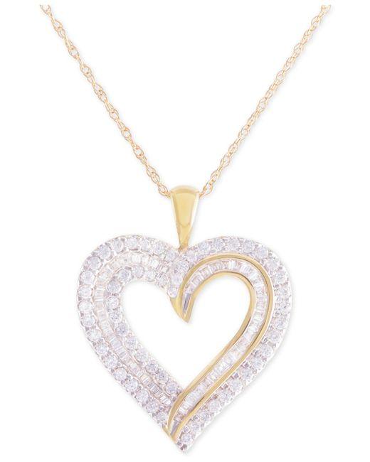 Macy's - Metallic Diamond Heart Pendant Necklace (1 Ct. T.w.) In 10k Gold - Lyst