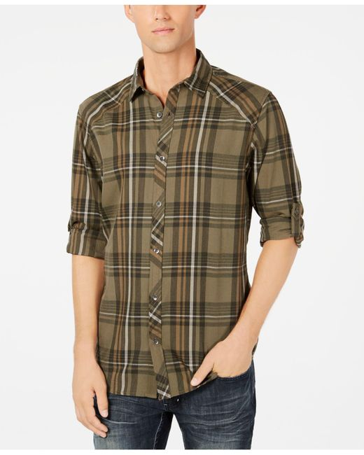 INC International Concepts - Green Marc Plaid Shirt, Created For Macy's for Men - Lyst
