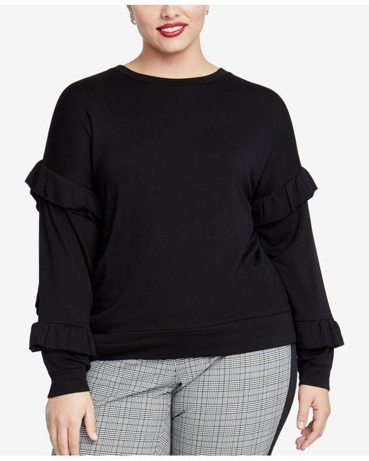 RACHEL Rachel Roy - Black Trendy Plus Size Ruffled-sleeve Top - Lyst