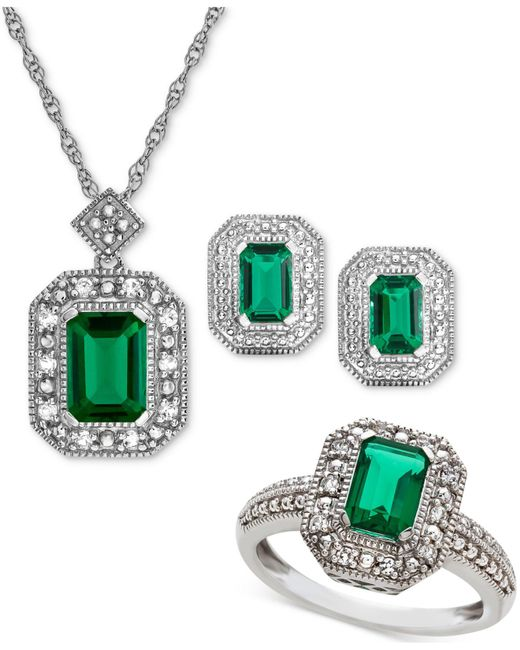 Macy's - Metallic Lab Created Emerald (2-3/8 Ct. T.w.) & White Sapphire (1/4 Ct. T.w.) Pendant Necklace - Lyst