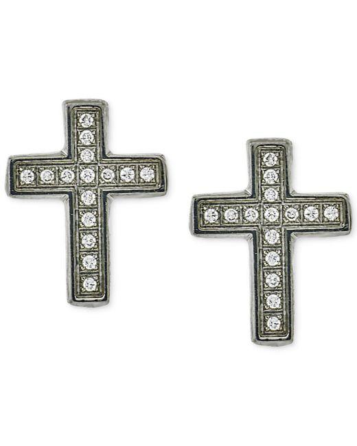 Macy's | Metallic Men's Diamond Cross Stud Earrings (1/10 Ct. T.w.) In Stainless Steel | Lyst