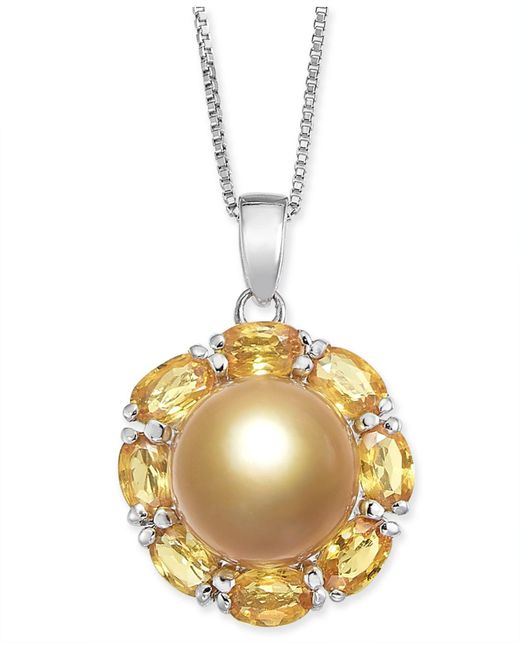 """Macy's - Metallic Cultured Golden South Sea Pearl (10mm) & Yellow Sapphire (3-1/5 Ct. T.w.) 18"""" Pendant Necklace In Sterling Silver - Lyst"""