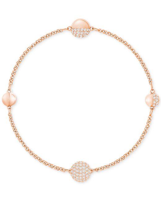 Swarovski - Metallic Rose Gold-tone Pavé Sphere Magnetic Closure Bracelet - Lyst