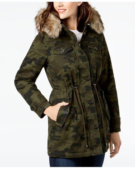 BCBGeneration - Green Faux-fur-trim Printed Anorak Coat - Lyst