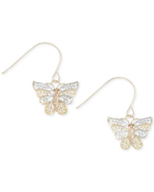 Macy's - Metallic Two-tone Openwork Butterfly Drop Earrings In 10k Gold And White Gold - Lyst