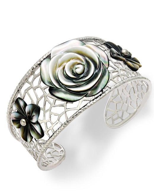 Macy's - Metallic Sterling Silver Cuff Bracelet, Cultured Tahitian Mother Of Pearl Flower Bangle - Lyst