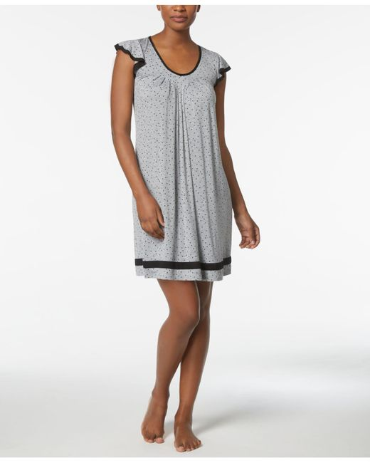 Ellen Tracy - Gray Yours To Love Short Sleeve Chemise - Lyst