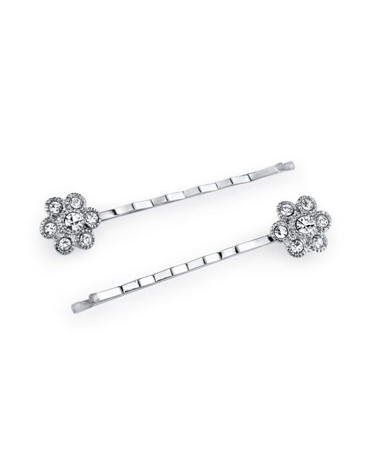 2028 - Metallic Silver-tone Crystal Flower Bobby Pin Set - Lyst