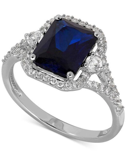 Macy's - Metallic Lab-created Sapphire (3 Ct. T.w.) And White Sapphire (3/8 Ct. T.w.) Ring In Sterling Silver - Lyst