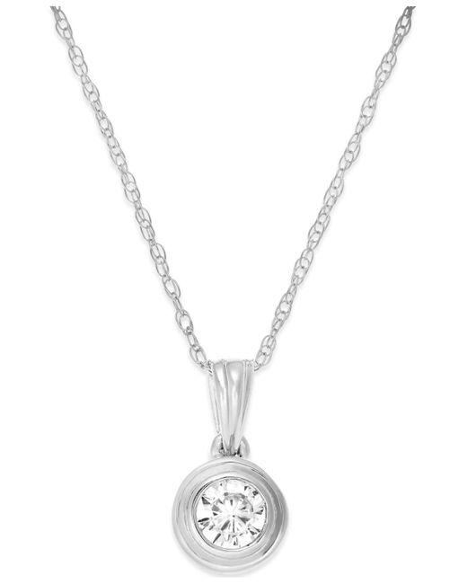 Macy's - Diamond Bezel Pendant Necklace (1/5 Ct. T.w.) In 14k White Gold - Lyst