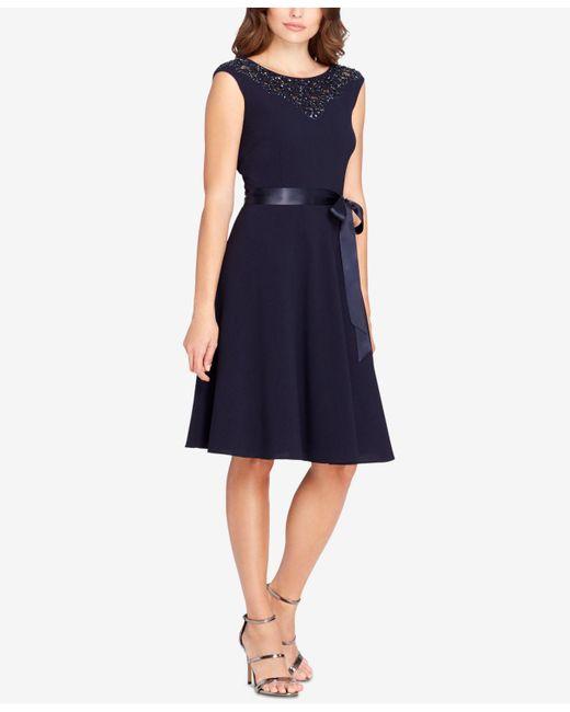 Tahari   Blue Embellished A-line Dress   Lyst