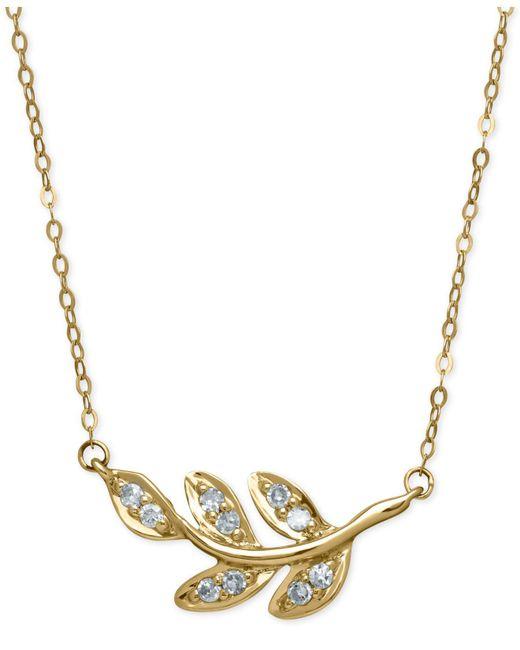 Macy's   Metallic Diamond Leaf Pendant Necklace (1/10 Ct. T.w.) In 10k Gold   Lyst