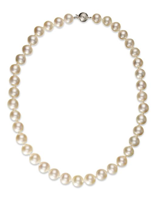 Macy's | Pearl Necklace, 14k White Gold White Cultured South Sea Pearl Strand Necklace (10-12mm) | Lyst
