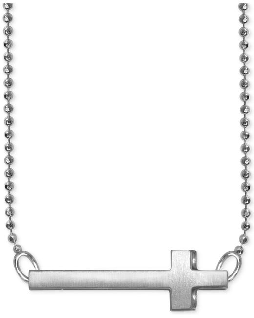 Alex Woo | Metallic Side Cross Beaded Pendant Necklace In Sterling Silver | Lyst