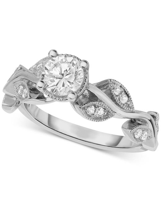Macy's - Metallic Diamond Vine-inspired Engagement Ring (5/8 Ct. T.w.) In 14k White Gold - Lyst