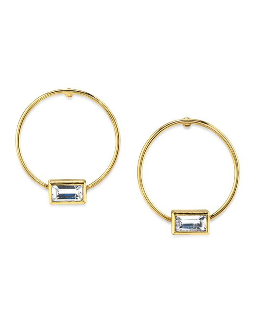 2028 White 14k Gold Dipped Rectangle Crystal Hoop Stainless Steel Post Earring Lyst