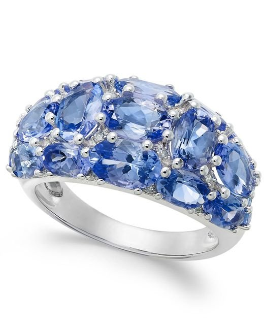 Macy's | Blue Tanzanite (6 Ct. T.w.) And Diamond (1/8 Ct. T.w.) Dome Ring In 14k White Gold | Lyst
