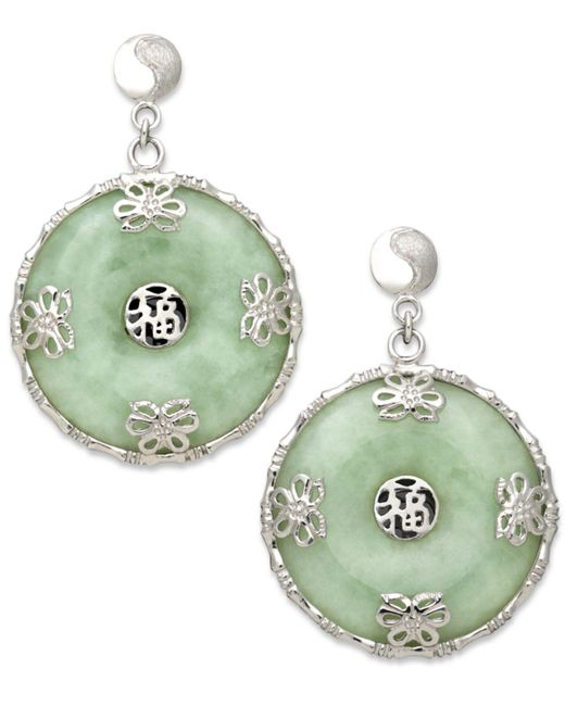 Macy's - Green Sterling Silver Earrings, Jade Circle Flower Overlay Earrings - Lyst