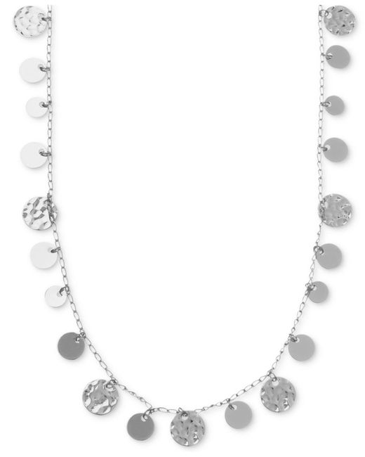 Nine West - Metallic Necklace, Silver-tone Hammered Disc Strand Necklace - Lyst