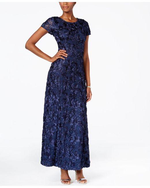 Alex Evenings - Blue A-line Rosette Dress - Lyst