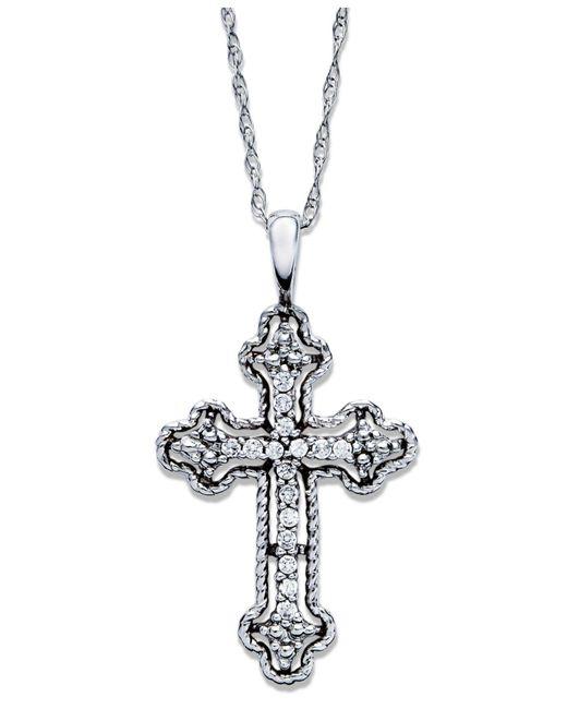 Macy's | Metallic Diamond Antique Cross Pendant Necklace In 14k White Gold (1/10 Ct. T.w) | Lyst
