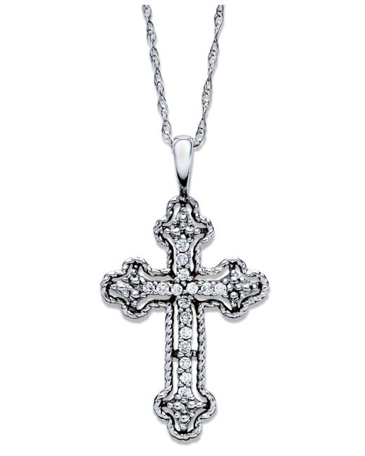 Macy's - Metallic Diamond Antique Cross Pendant Necklace In 14k White Gold (1/10 Ct. T.w) - Lyst