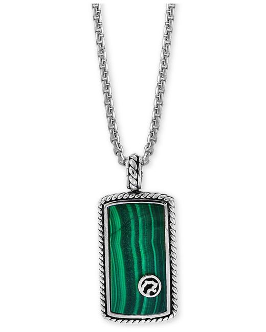 "Effy Collection - Metallic Malachite Dog Tag 22"" Pendant Necklace In Sterling Silver - Lyst"