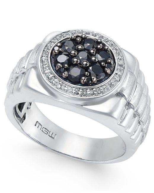 Macy's - Metallic Men's Sapphire Cluster Ring (1-1/5 Ct. T.w.) In Sterling Silver - Lyst