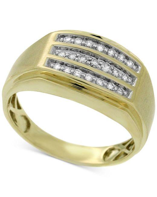 Macy's - Metallic Men's Diamond Channel-set Three-row Ring (1/4 Ct. T.w.) In 10k Gold for Men - Lyst