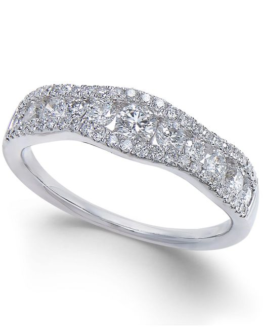 Macy's - Metallic Diamond Openwork Curved Ring (3/4 Ct. T.w.) In 14k White Gold - Lyst